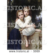 Historical Illustration of Two Sisters Hugging on a Stone Wall, by William-Adolphe Bouguereau by Al