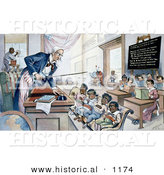 Historical Illustration of Uncle Sam Lecturing Kids in School by Al