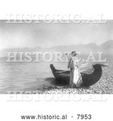 Historical Image of Kutenai Indian Woman with Canoe 1910 - Black and White by Al