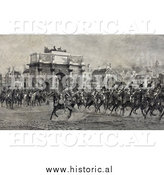 Historical Image of Napoleon I Riding Horse with Cavalry Troops by the Arc De Triompe Du Carrousel by Al