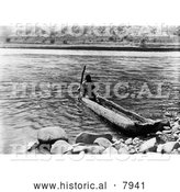 Historical Image of Nez Perce, a Native American Indian, in a Canoe 1910 - Black and White by Al