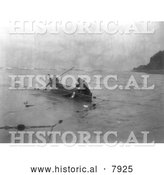 Historical Image of Quinault Indians Fishing 1913 - Black and White by Al