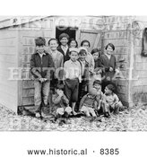Historical Image of Young Aleutians - Black and White Version by Al