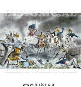 Historical Lithograph Image of the Battle of New Orleans on January 8th, 1814 by Al