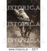 Historical Painting of a Fireman Rescuing a Little Girl, Carrying Her on His Shoulder While Climbing down a Ladder During a Building Fire by Al