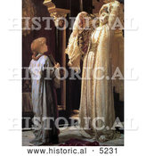 Historical Painting of a Girl Holding a Mirror for a Beautiful Woman, Light of the Harem by Frederic Lord Leighton by Al