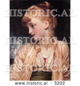 Historical Painting of a Girl Looking Left, Gulnihal by Frederic Lord Leighton by Al