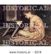 Historical Painting of a Girl Sitting on a Carpet, Reading a Book at a Reading Desk by Frederic Lord Leighton by Al