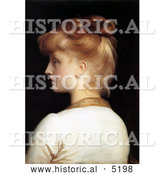 Historical Painting of a Red Haired Girl from Behind, Looking Left by Frederic Lord Leighton by Al