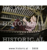 Historical Photo of a Female Riveter Riveting an A-20 Bomber Airplane by Al