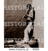 Historical Photo of American Indian Playing an Instrument 1908 by Al