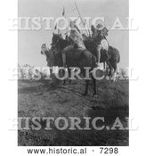 December 13th, 2013: Historical Photo of Apsaroke Men on Horses, Holding Spears 1908 - Black and White by Al