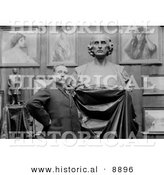 Historical Photo of Artist Ettore Ximenes, Proudly Posing in Front of His Bust Statue of Christopher Columbus in His Studio - Black and White Version by Al