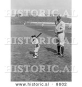 Historical Photo of Babe Ruth and a Boy, Little Mascot, Posing with Bats on a Baseball Field - Black and White Version by Al