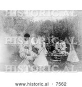 Historical Photo of Cheyenne Indian Girls with Toys 1907 - Black and White by Al