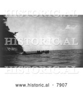 Historical Photo of Chinook Indians and Canoes - Black and White by Al