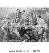 Historical Photo of Christopher Columbus Surrounded by Indians - Black and White by Al