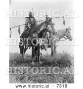 December 13th, 2013: Historical Photo of Crow Indians Bird on the Ground and Forked Ir 1908 - Black and White by Al