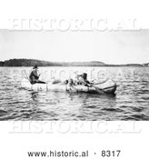 Historical Photo of Five Ojibwa Indians in Canoe 1913 - Black and White Version by Al