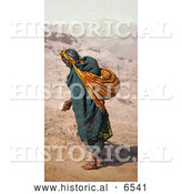 Historical Photo of Hopi Woman Walking in Sand, Patient Toil, Moki Pueblos, Arizona by Al