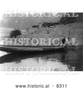 Historical Photo of Hupa Fishing from Canoe 1923 - Black and White Version by Al