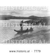 Historical Photo of Indian Canoe with a Sail 1914 - Black and White by Al