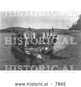 Historical Photo of Indian Wedding Canoes 1914 - Black and White by Al