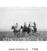 December 13th, 2013: Historical Photo of Indians on Horses 1905 - Black and White by Al