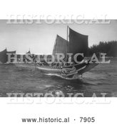 Historical Photo of Kwakiutl Indian Canoes 1914 - Black and White by Al