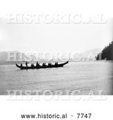 Historical Photo of Kwakiutl Indians in Canoe 1910 - Black and White by Al