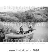 Historical Photo of Lakota Indians in a Canoe 1902 - Black and White by Al