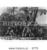 Historical Photo of Landing of Columbus 1492 - Black and White by Al