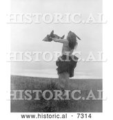 December 13th, 2013: Historical Photo of Mandan Indian Holding a Buffalo Skull 1908 - Black and White by Al