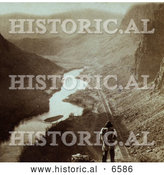 Historical Photo of Native American Overlooking Humboldt River - Sepia by Al