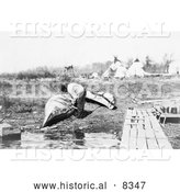 Historical Photo of Ojibwa Indian Fixing Canoe 1913 - Black and White by Al