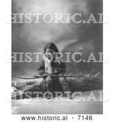 Historical Photo of Sioux Indian Child, John Lone Bull 1900 - Black and White by Al