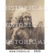 Historical Photo of Sioux Indian Man Named He Dog 1900 - Sepia by Al