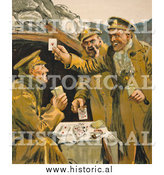 Historical Photo of Soldiers Playing Cards 1915 by Al
