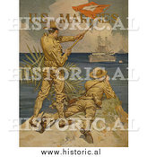 Historical Photo of Soldiers Using Signal Flags - Vintage Military War Poster 1917 by Al