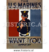 Historical Photo of US Marines Recruiting - Vintage Military War Poster by Al