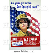 Historical Photo of WAC Woman with American Flag 1943 - Vintage Military War Poster by Al