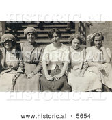 Historical Photo of Young Mill Worker Girls Taking a Break in 1913 by Al