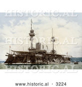 Historical Photochrom of a Warship in a Harbour, Algiers, Algeria by Al