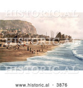 Historical Photochrom of Blue Ocean Waves Rolling Towards Ships, Net Shops and People on the Beach at the Fish Market on the East Cliff in Hastings East Sussex England UK by Al