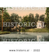 Historical Photochrom of Pavillion and Rock of Marie Antoinette at Petit Trianon by Al