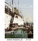 Historical Photochrom of People Boarding on Smaller Boats, Leaving a Big Ship, Algeria by Al