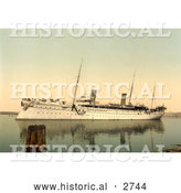 Historical Photochrom of Ship Hohenzollern, Venice by Al