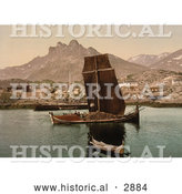 Historical Photochrom of Ships and a Town, Nordlandsbaad, Nordland, Norway by Al