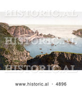 Historical Photochrom of Ships down Below in the Creux Harbor in Sark, Channel Islands, England by Al