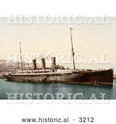 Historical Photochrom of Steamship Normannia, Algiers by Al
